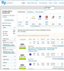 Chicago-Istanbul: Fly Booking Page