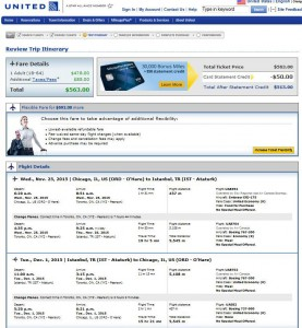 Chicago-Istanbul: United Airlines Booking Page