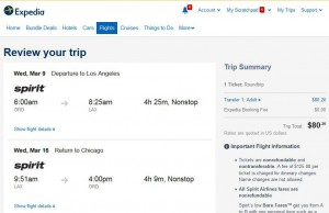 Chicago-Los Angeles: Expedia Booking Page