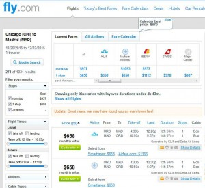 Chicago-Madrid: Fly Search Results