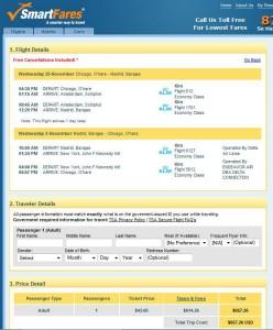 Chicago-Mardid: SmartFares Booking Page