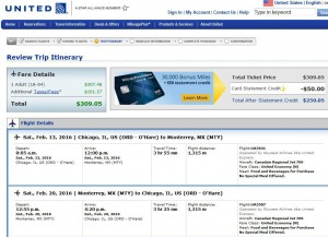 Chicago-Monterrey: United Airlines Booking Page