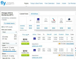 Chicago-Monterrrey: Fly.com Search Results