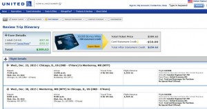 Chicago-Monterrrey: United Airlines Booking Page