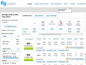 Chicago-New York City: Fly Search Results