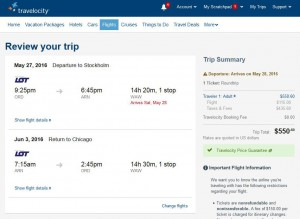 Chicago-Stockholm: Travelocity Booking Page