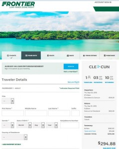 Cleveland-Cancun: Frontier Booking Page