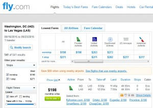 DC to Las Vegas: Fly.com Results