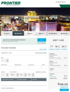 DC to Las Vegas: Frontier Booking Page