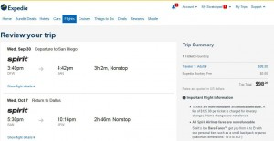 Dallas-San Diego: Expedia Booking Page