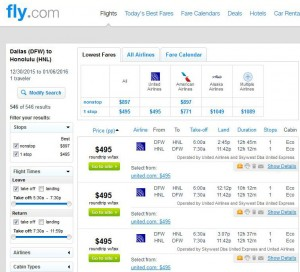 Dallas-Honolulu: Fly Booking Page
