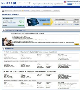 Dallas-Honolulu: United Booking Page