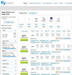 Dallas-Las Vegas: Fly Search Results
