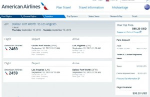 Dallas-Los Angeles: American Airlines Booking Page