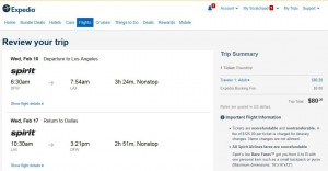 Dallas-Los Angeles: Expedia Booking Page