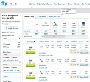 Dallas-Los Angeles: Fly Search Results