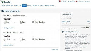 Dallas-Orlando: Expedia Booking Page