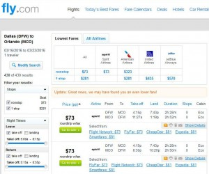 Dallas-Orlando: Fly Search Results