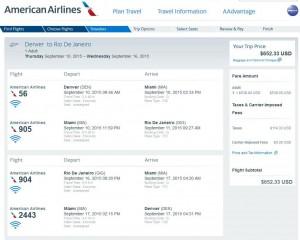 Denver-Rio de Janeiro: American Airlines Booking Page