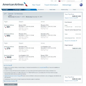Denver to Honolulu: American Airlines Booking Page