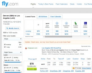 Los Angeles to Denver: Fly.com Results