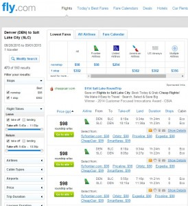 Denver to Salt Lake City: Fly.com Results