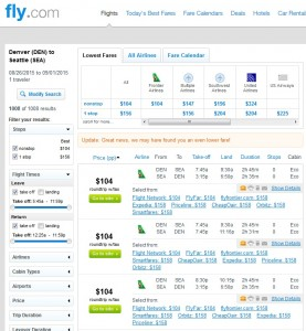 Denver to Seattle: Fly.com Results
