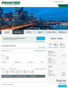 Denver to Seattle: Frontier Booking Page