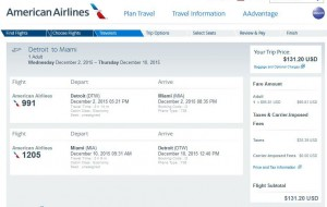 Detroit-Miami: American Airlines Booking Page