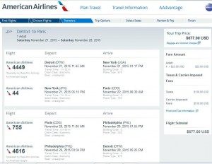 Detroit-Paris: American Airlines Booking Page