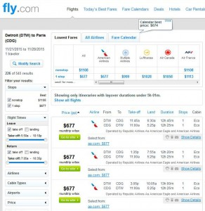 Detroit-Paris: Fly Search Results