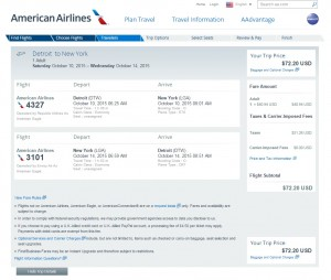 Detroit to NYC: AA Booking Page