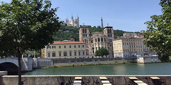 Fourviere Basilica Rises Above the Elegant Buildings on Lyon's Riverside (David Wishart)