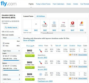 Houston-Barcelona: Fly Search Results