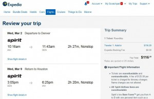 Houston-Denver: Expedia Booking Page