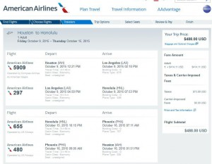 Houston-Honolulu: American Airlines Booking Page
