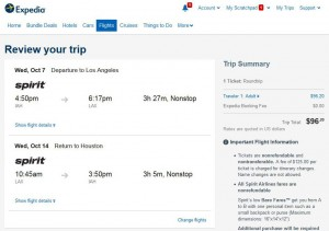 Houston-Los Angeles: Expedia Booking Page
