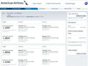 Houston-Madrid: American Airlines Booking Page