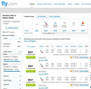 Houston-Madrid: Fly Search Results