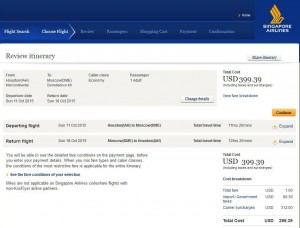 Houston-Moscow: Singapore Airlines Booking Page