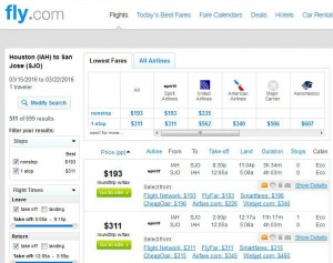 Houston-San Jose, Costa Rica: Fly Search Results