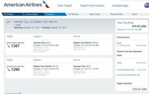 Kansas City-Dallas: American Airlines Booking Page