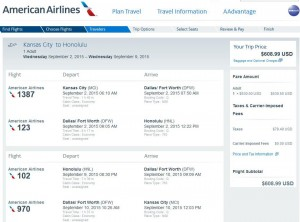 Kansas City-Honolulu: American Airlines Booking Page