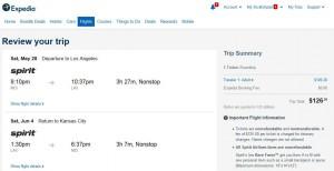 Kansas City-Los Angeles: Expedia Booking Page