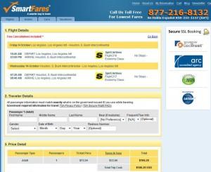 Los Angeles-Houston: SmartFares Booking Page
