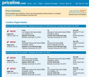 Los Angeles-Seoul: Priceline Booking Page
