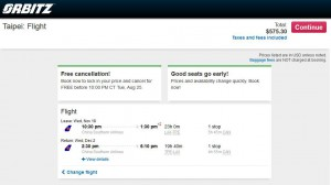 Los Angeles-Taipei: Orbitz Booking Page