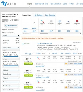 LA to Amsterdam: Fly.com Results