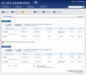 LA to Amsterdam: US Airways Booking Page