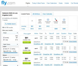 LA to Oakland: Fly.com Results